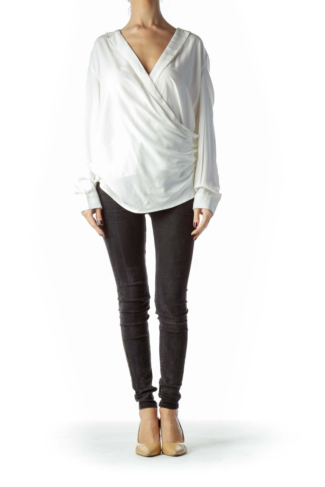 Off-White Open Front Buttoned V-Neck Top