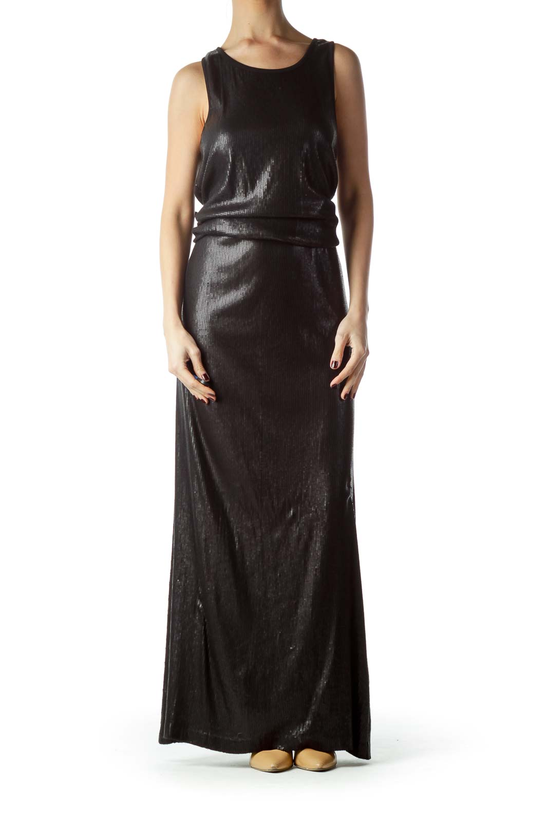 Black Sequined Body Sleeveless Maxi Dress