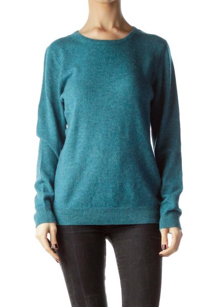 Teal Blue 100% Cashmere Sweater