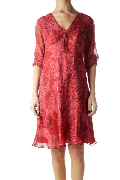 Red Printed V-Neck Silk Dress