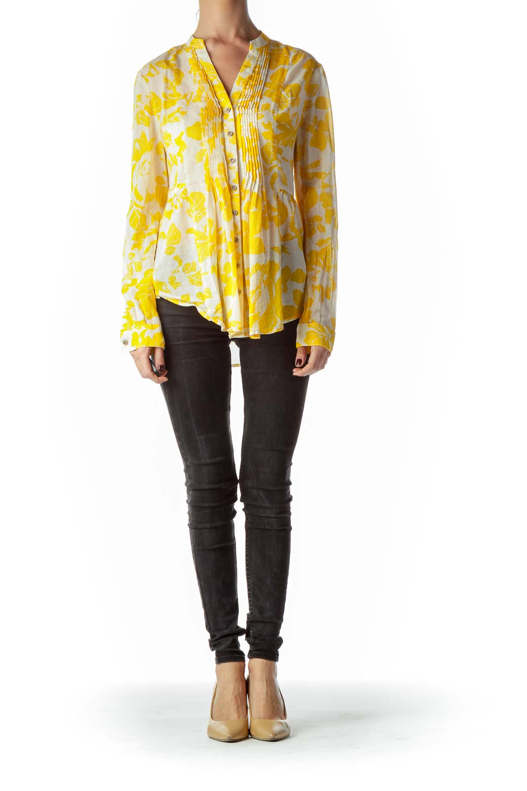 Yellow Floral Print 100% Cotton See-Through Blouse