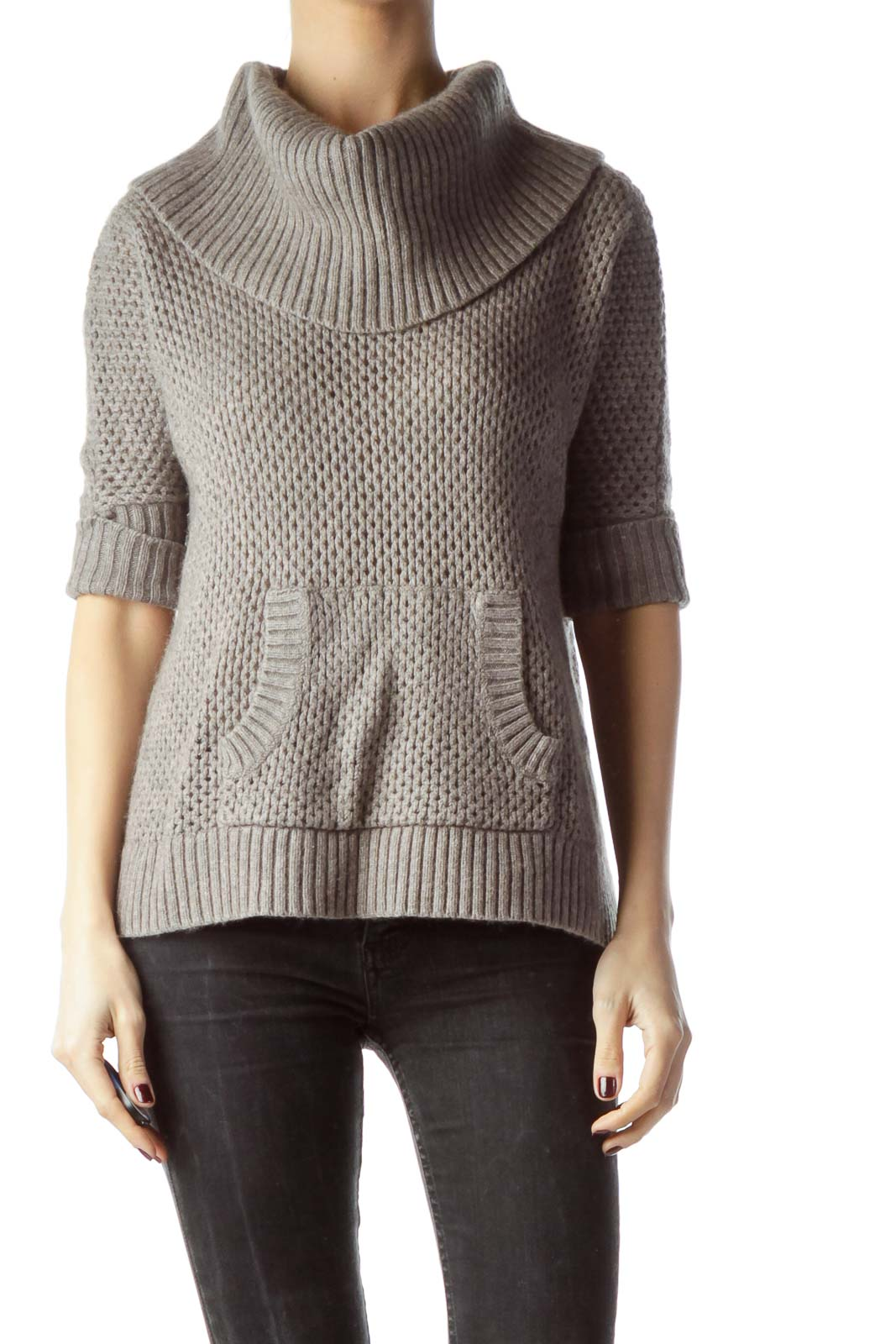Gray Front Pocket Cowl Neck Knit Top