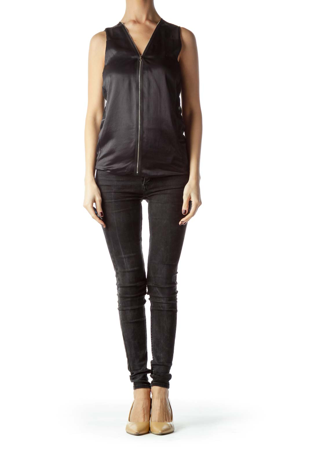 Black Zippered Up Front Sleeveless Top