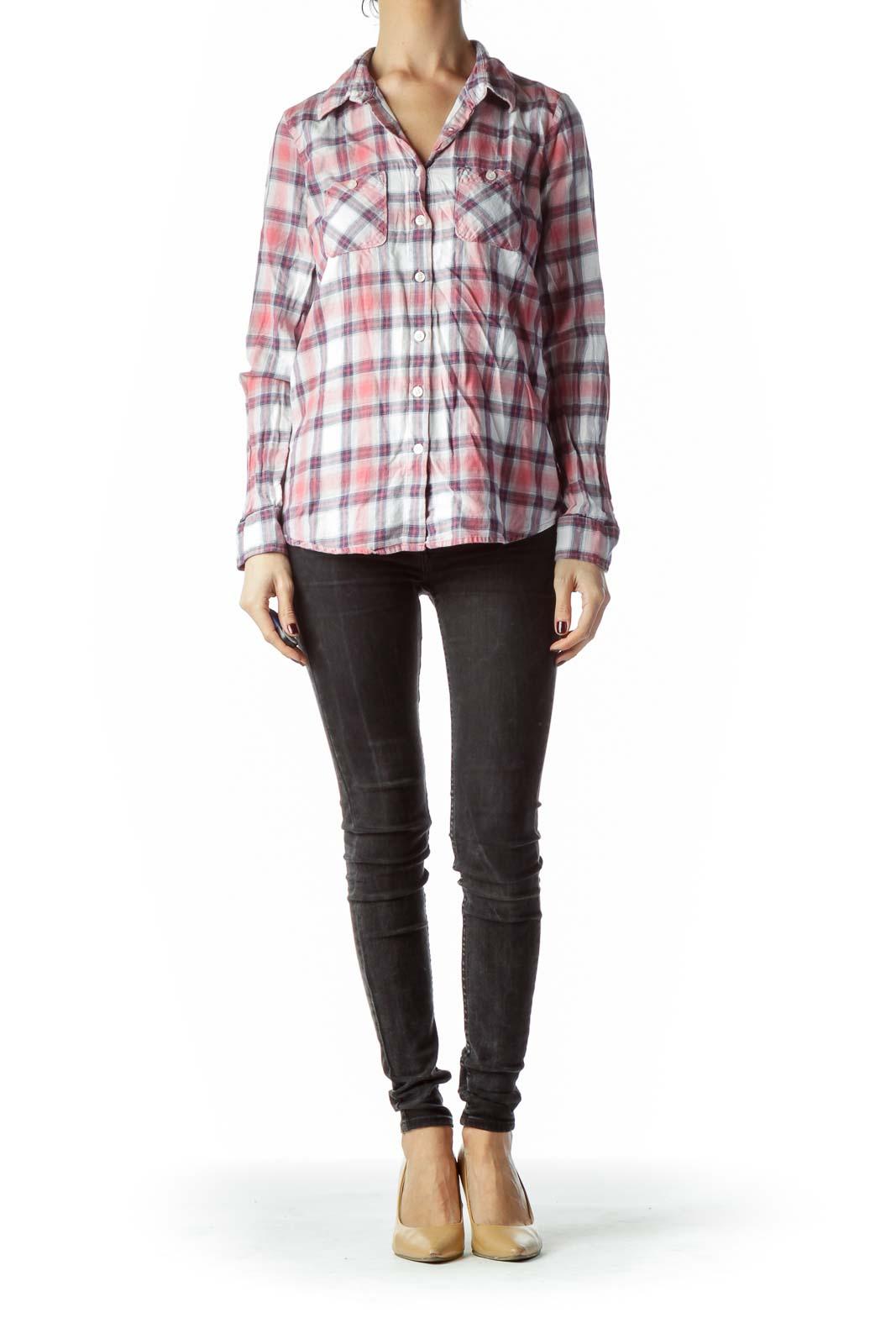 Pink Purple Plaid 100% Cotton Shirt