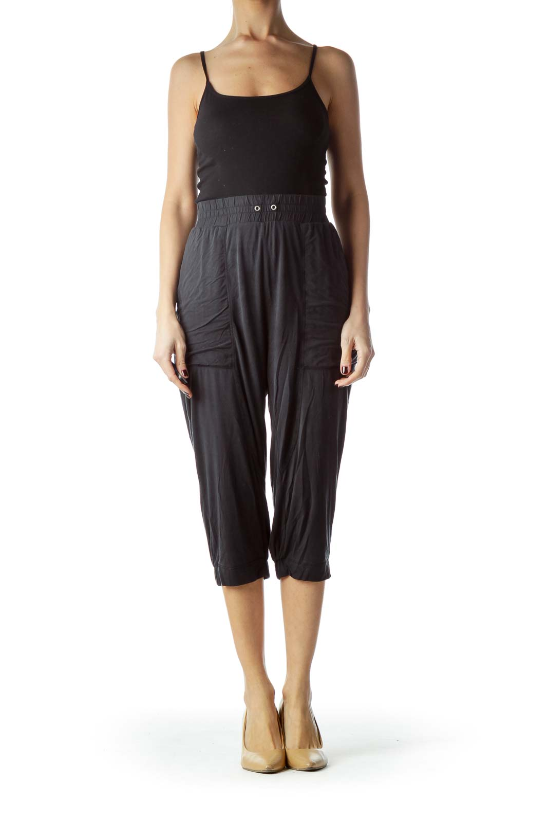 Washed Black Stretch Cropped Pants