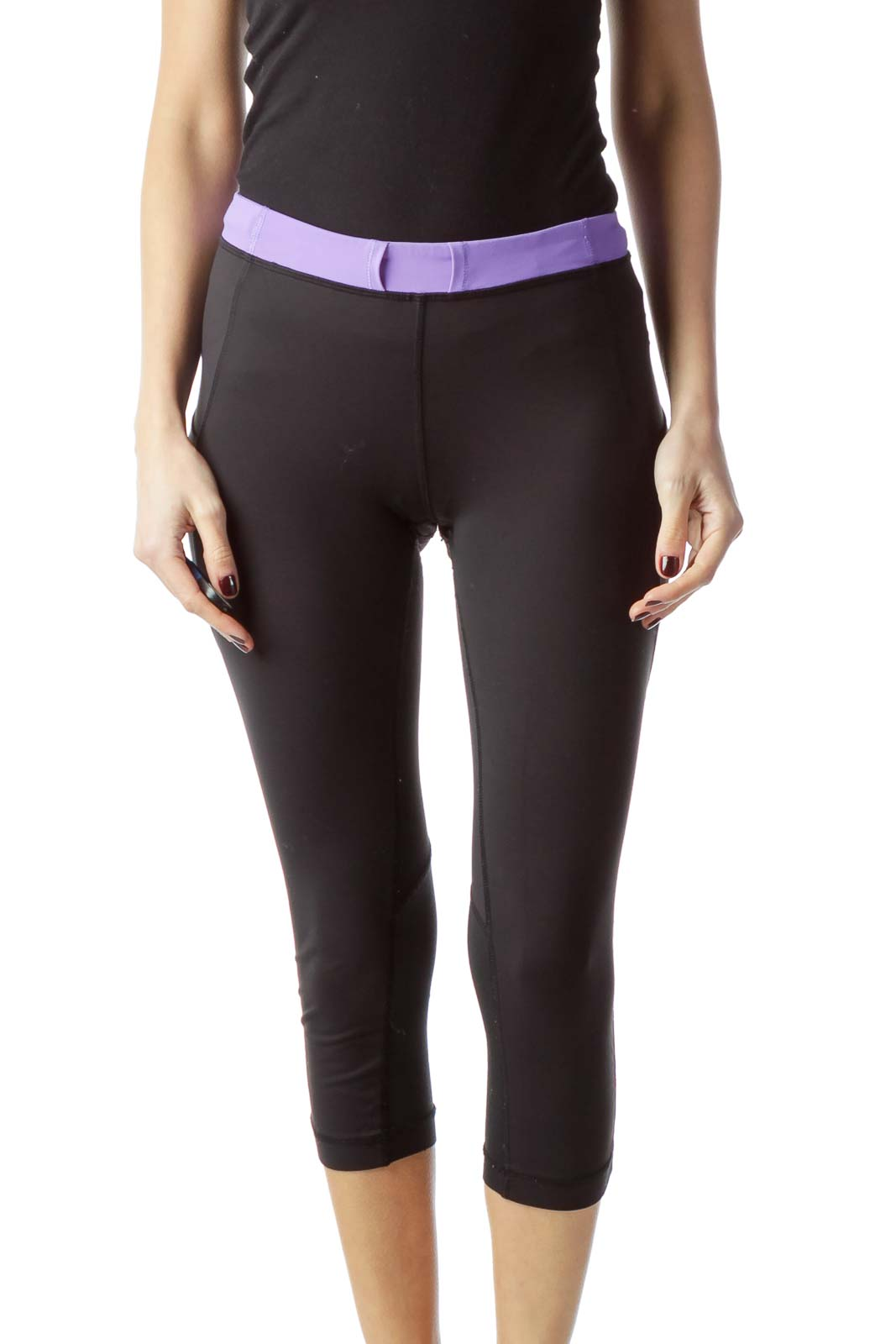 Black Purple Waistband Cropped Sports Pants