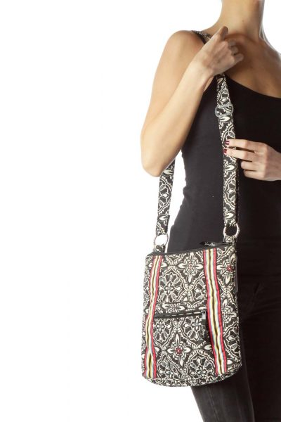 Black White Print Striped Quilted Crossbody Bag