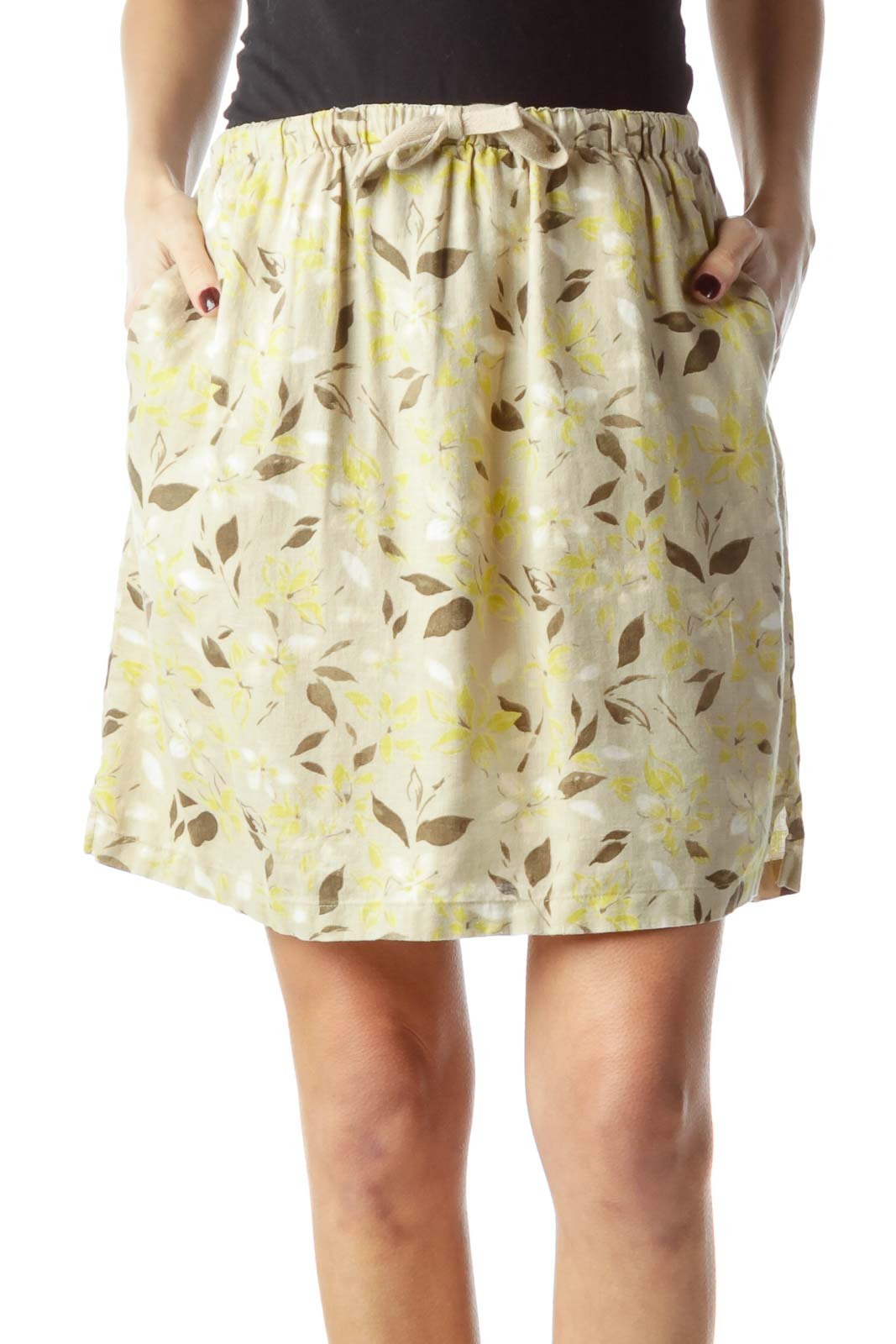 Beige Brown Green Floral Print 100% Linen Skirt