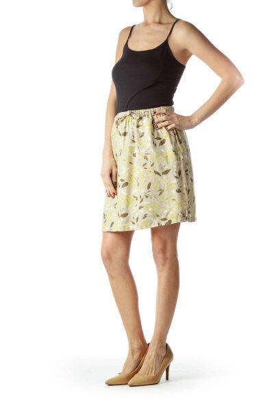 b77e58d68a89 ... Beige Brown Green Floral Print 100% Linen Skirt