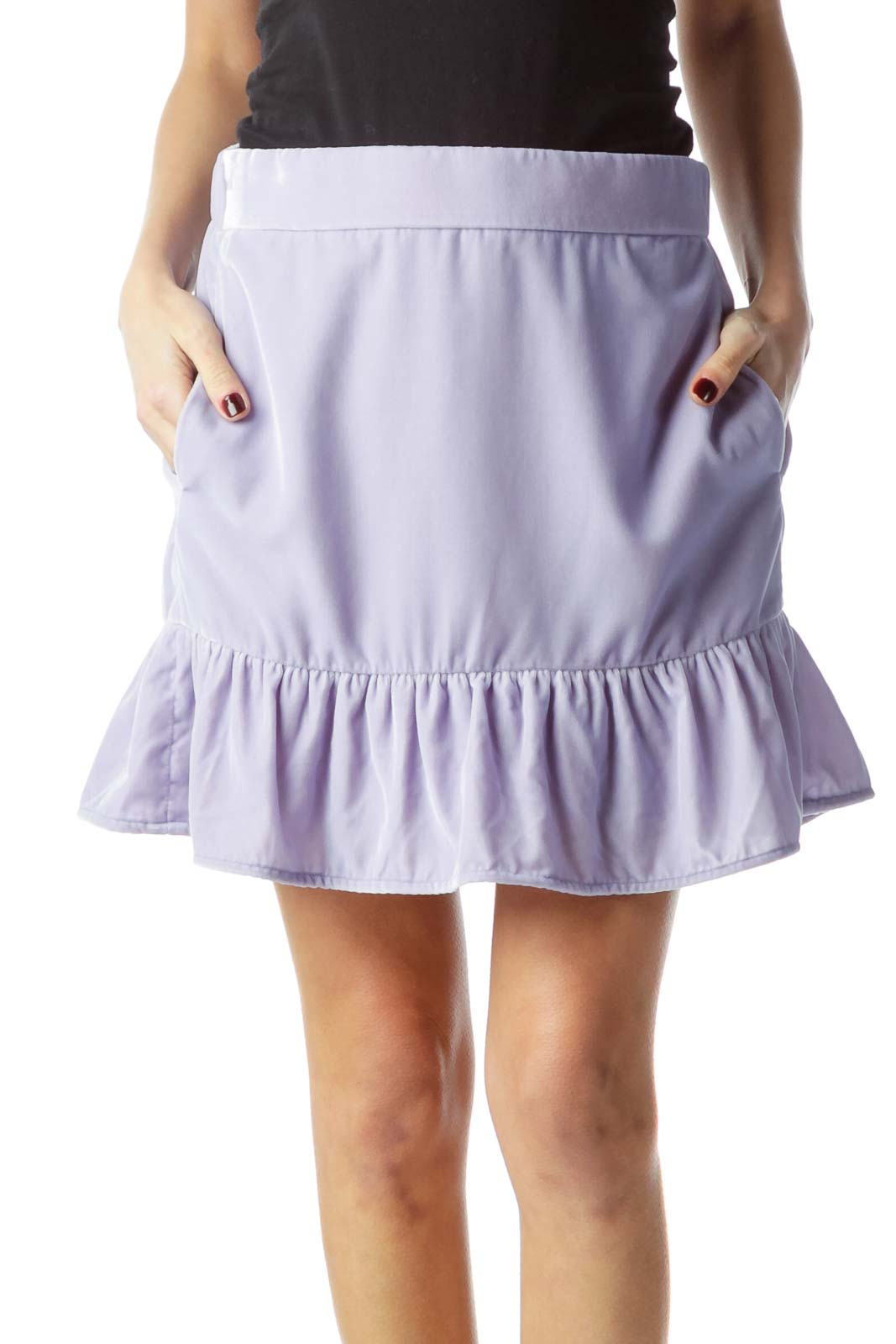 Lilac Velvet Pocketed Flared Skirt with Lining