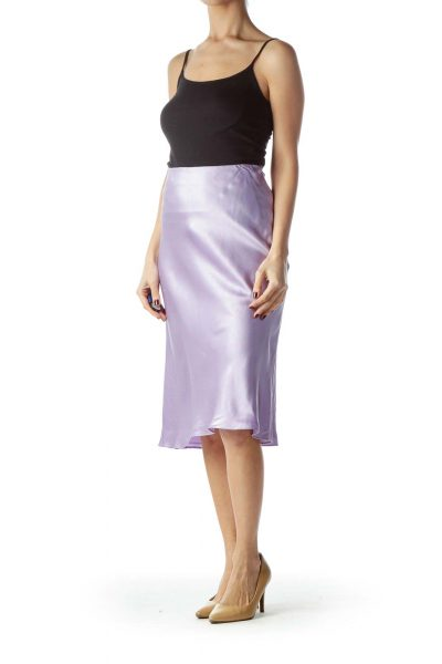 Lilac Pink Polka-Dot Midi Flared Silk Skirt