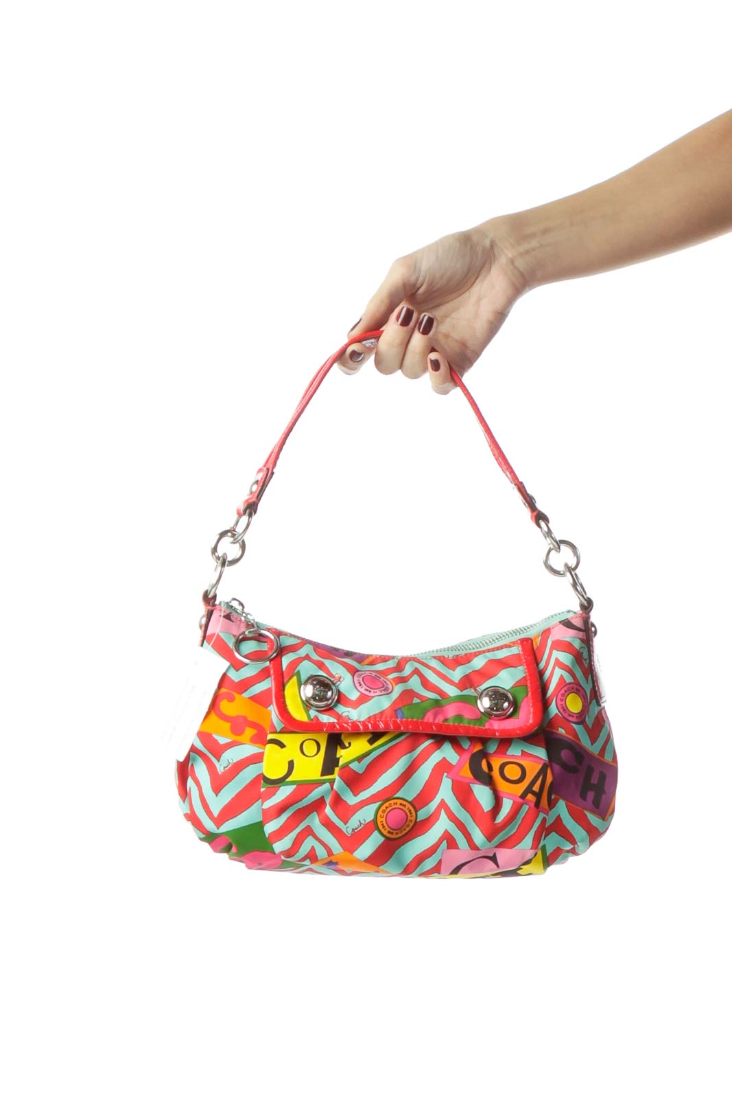 Red Multicolored Monogrammed Shoulder Bag
