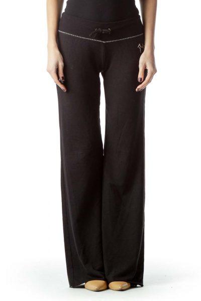 Black Stretch Sports Pants with Drawstring