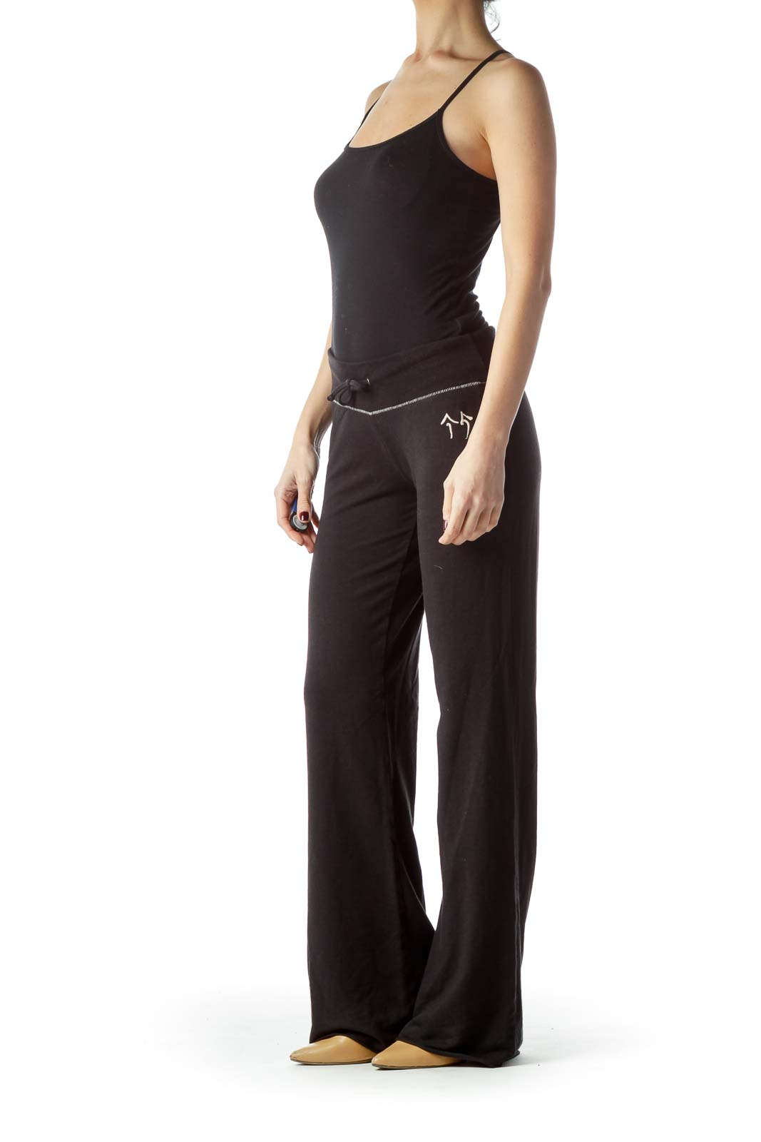Black Stretch Sports Pants with Drawstring