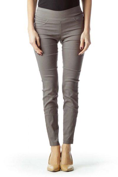 Gray Slim-Fit Jeggings Pants