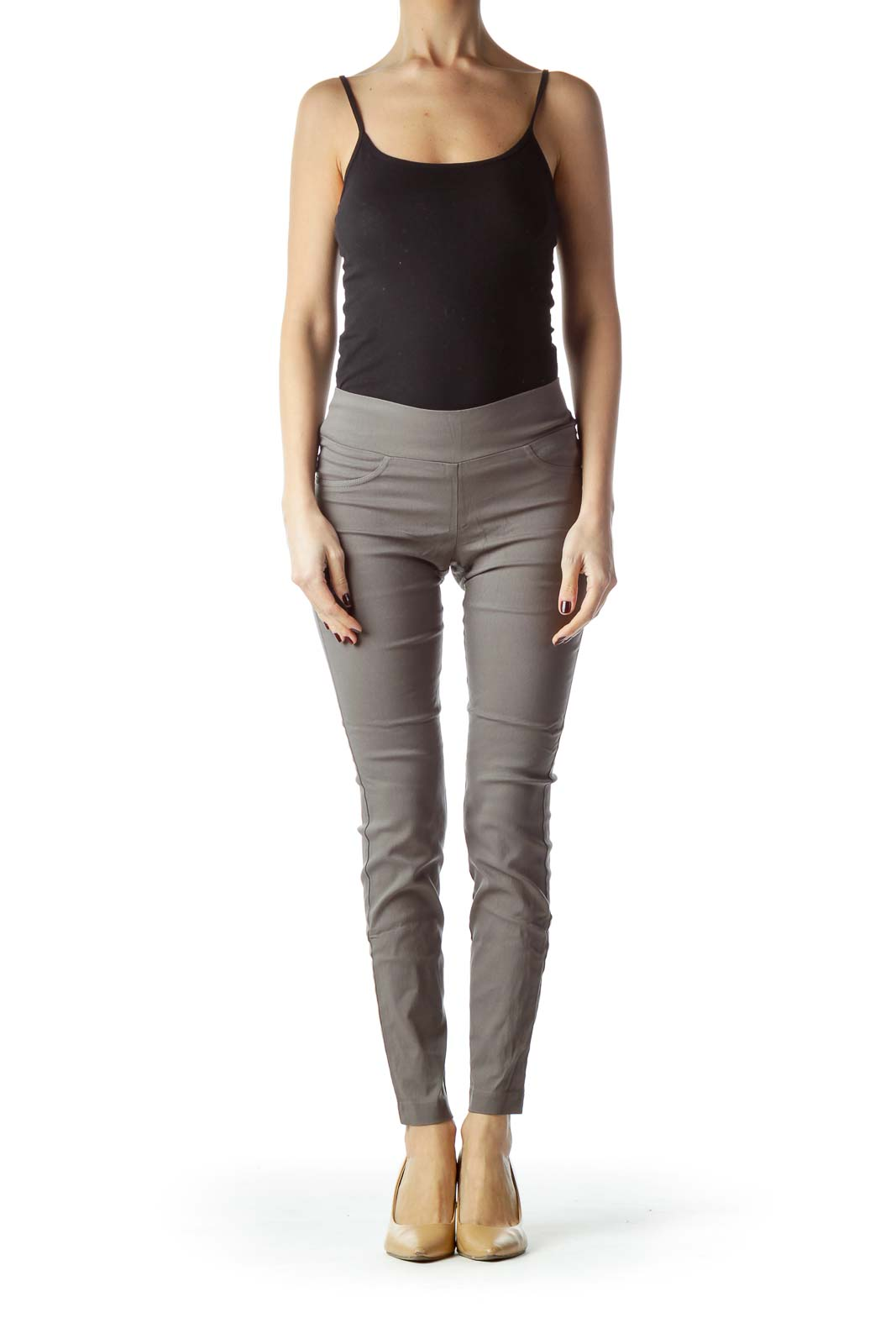 Gray Slim-Fit Jeggings Pants