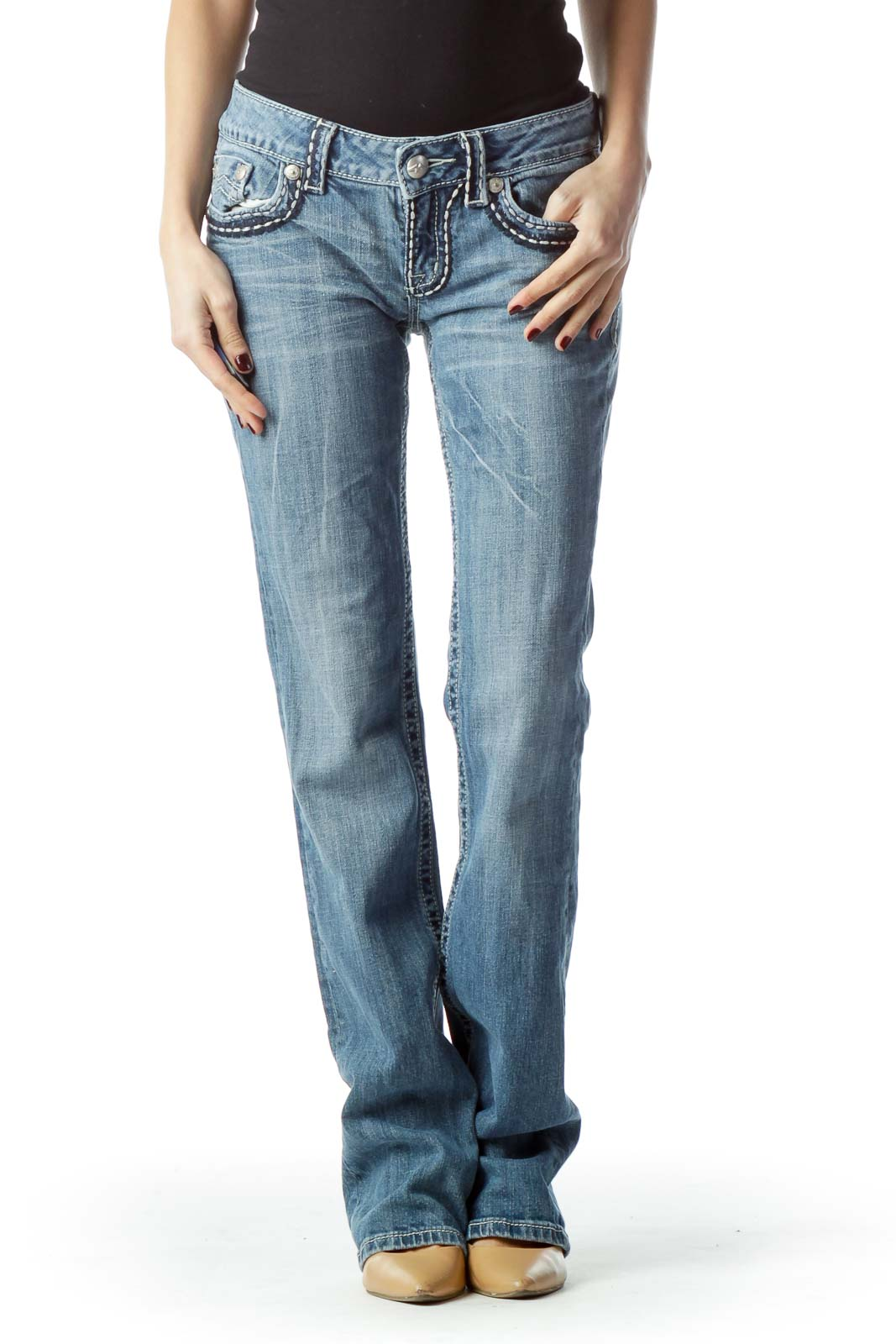 Light-Wash Straight-Leg Denim Jeans