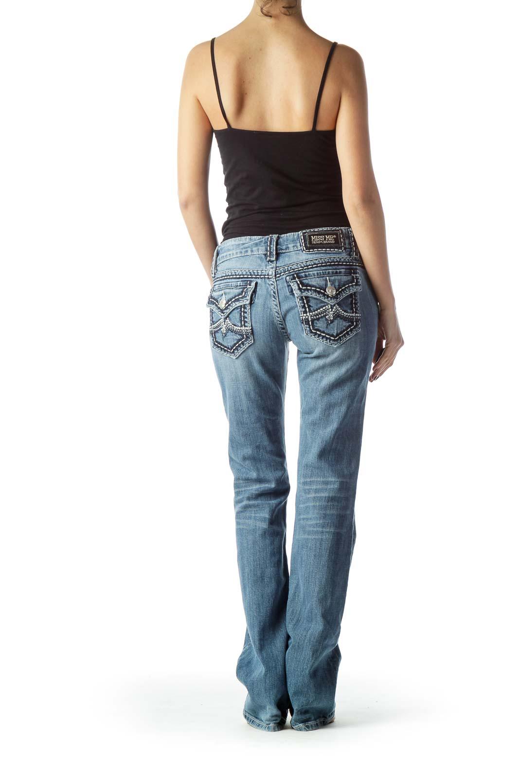 Light-Wash Straight-Leg Denim Jeans