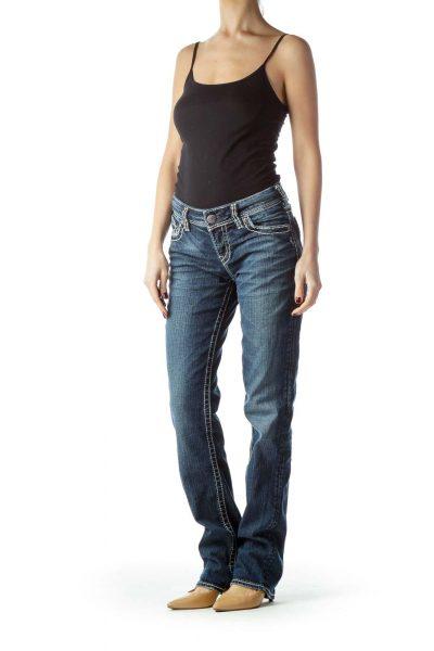 Blue Medium Wash Stitched Denim Jeans