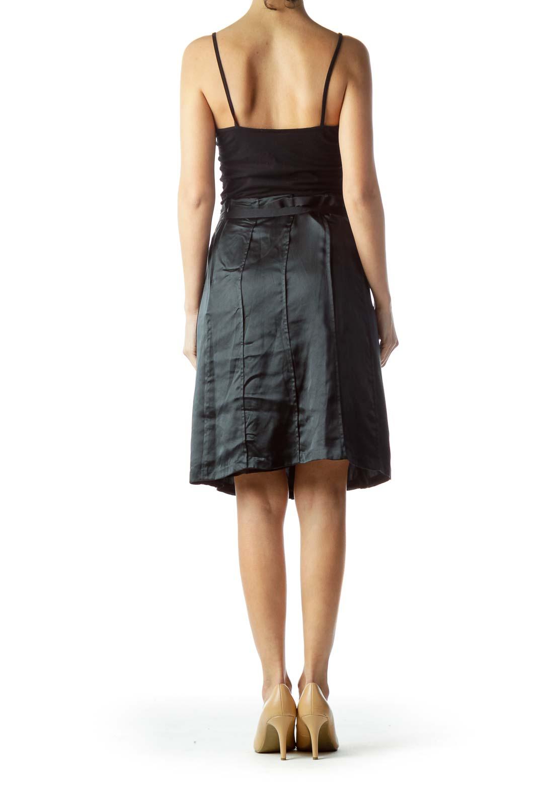 Black Flared Silk Skirt with Belt and Slip