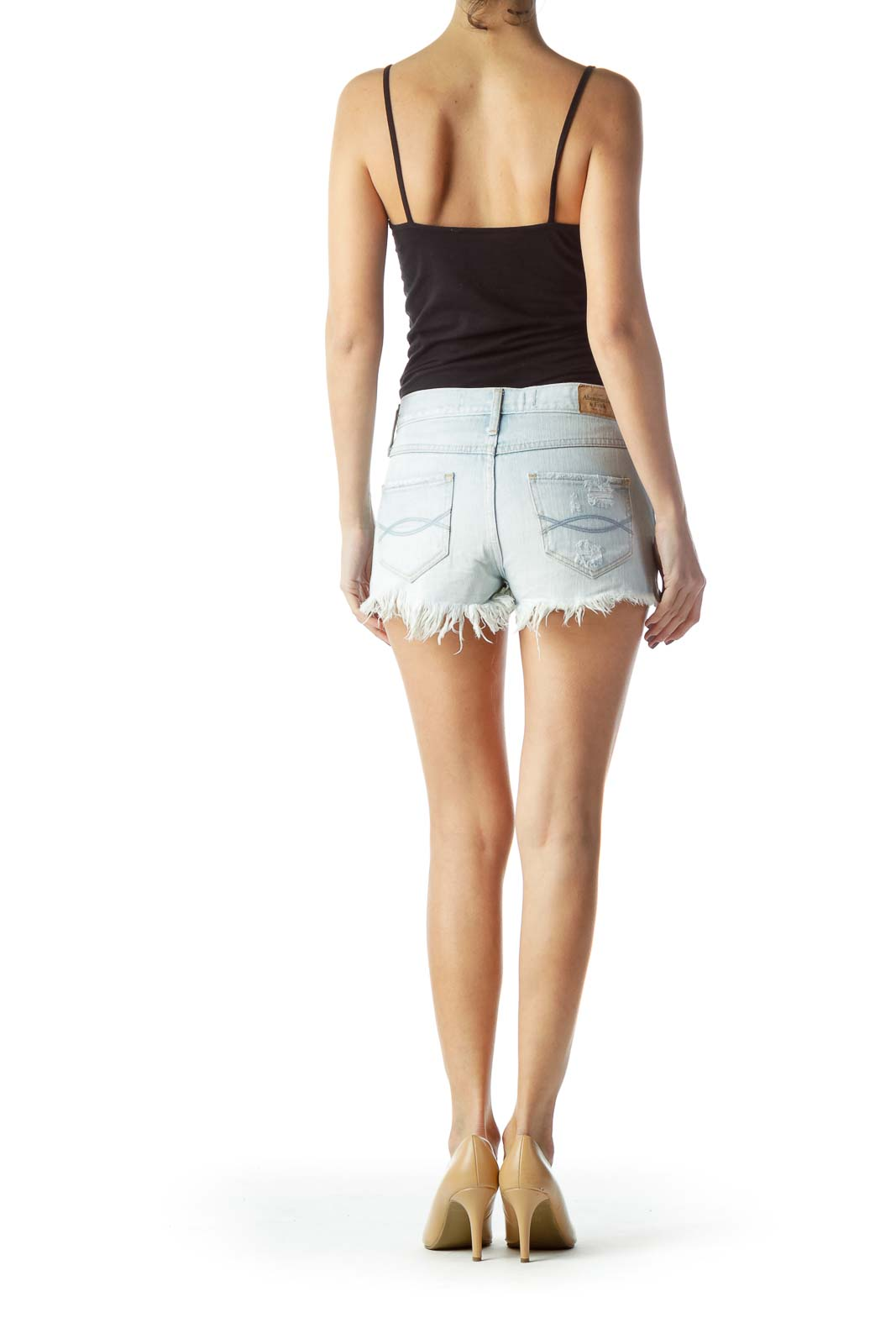 Blue 100% Cotton Embellished Denim Shorts
