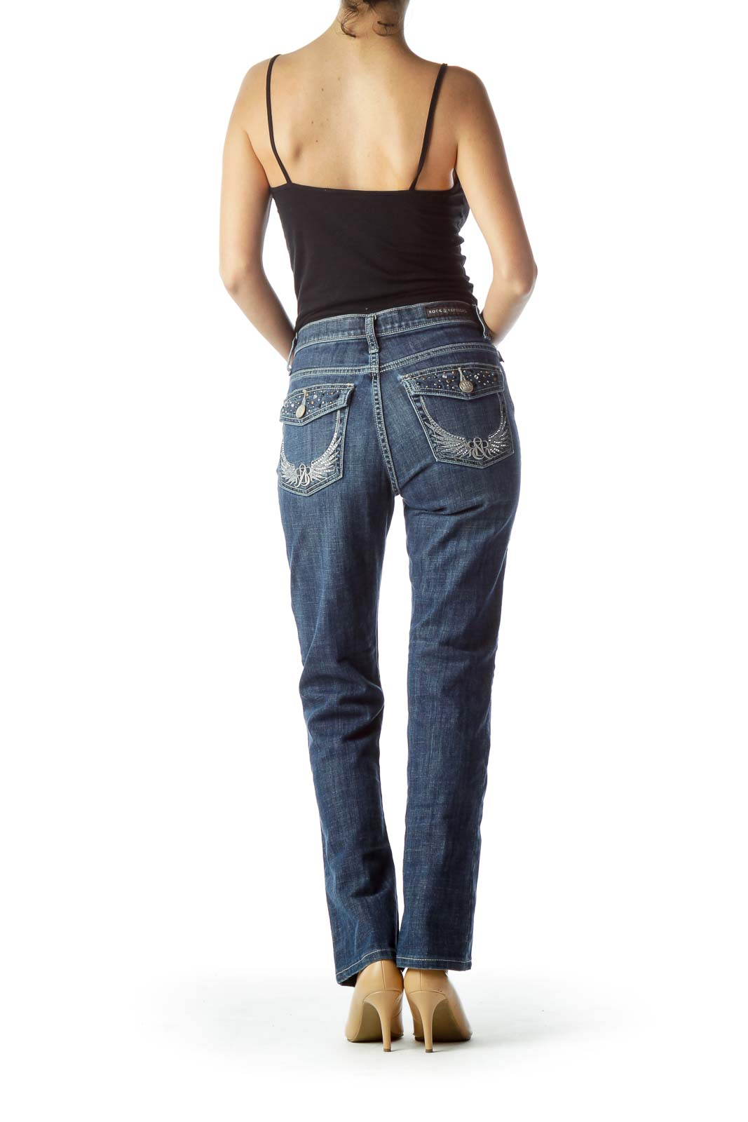 Blue Medium Wash Straight-Leg Denim Jeans