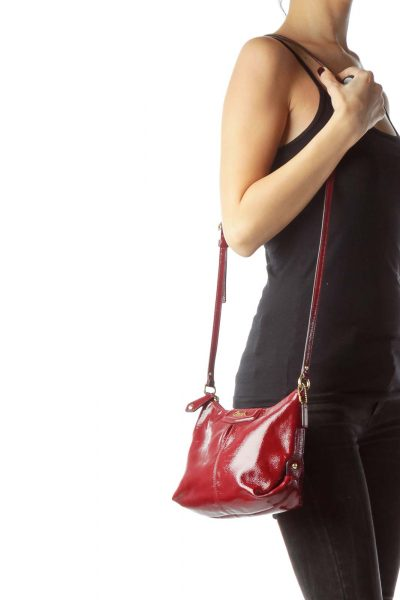Red Patent with Gold Hardware Crossbody Bag