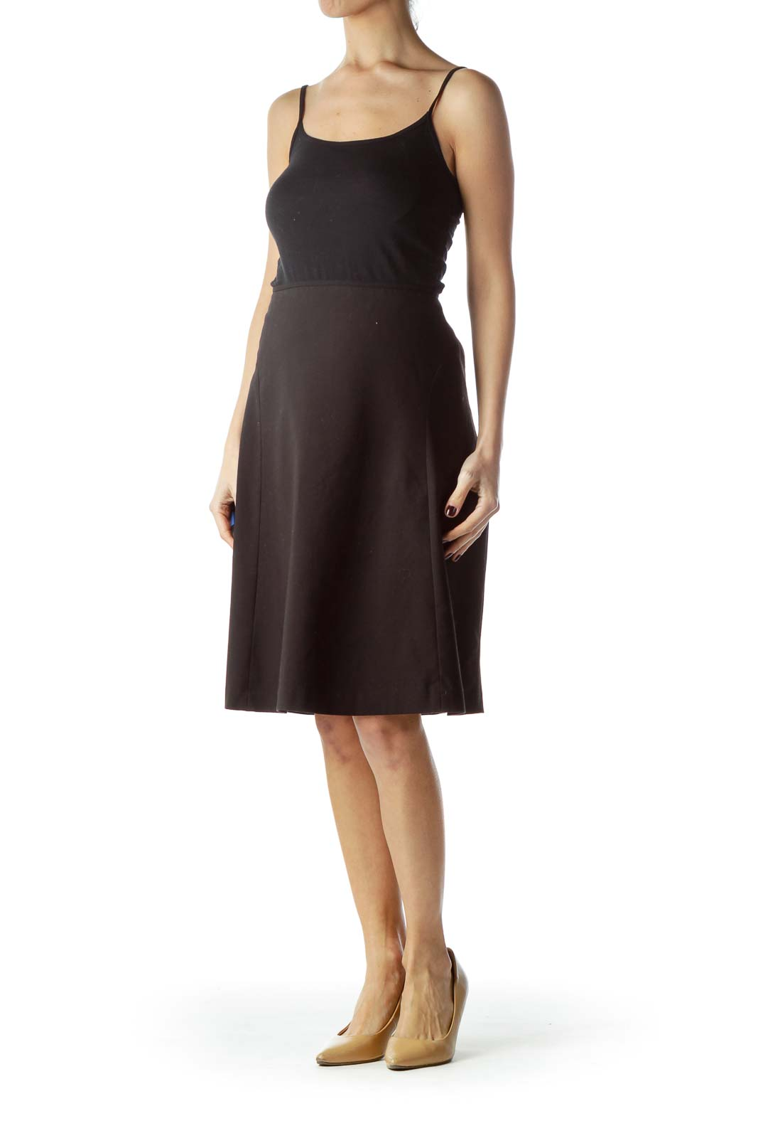 Black Zippered Flared Skirt with Slip
