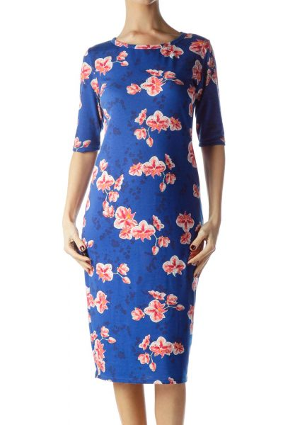 Blue Pink Flower Print Stretch Day Dress