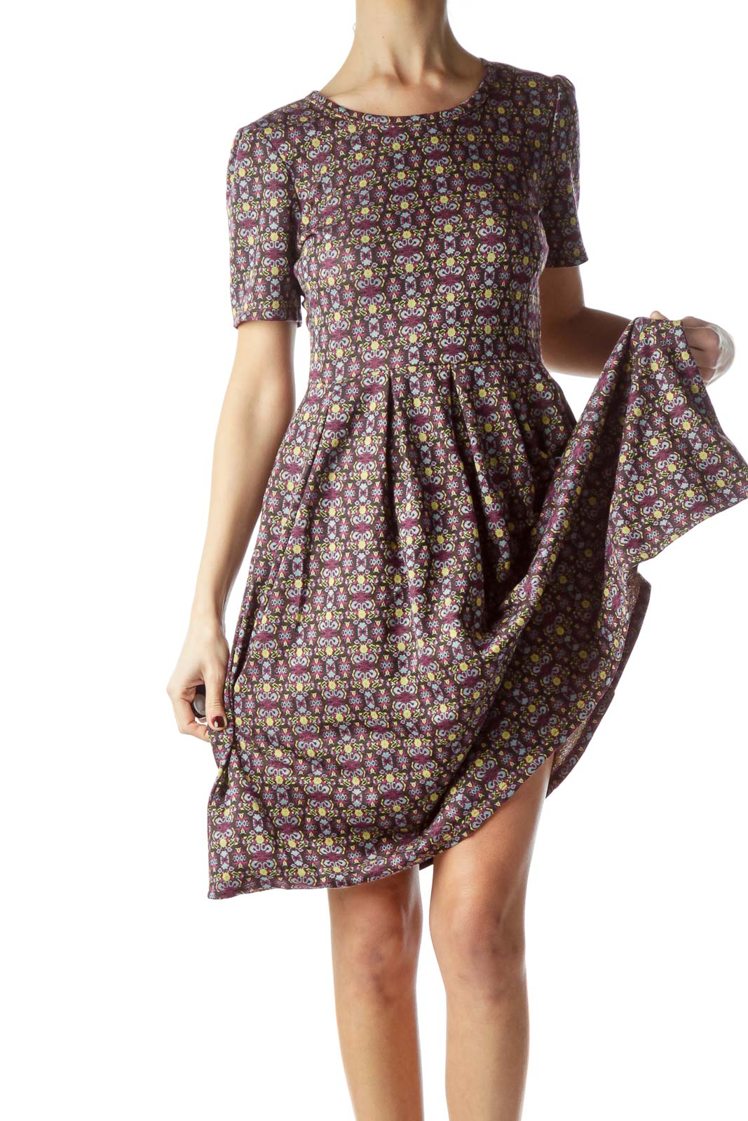 Multicolored Knitted Print Short Sleeve Dress