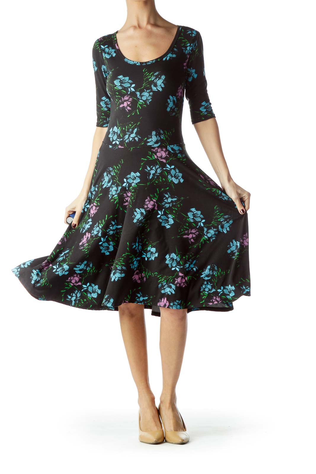 Black with Purple Blue Floral Print Day Dress