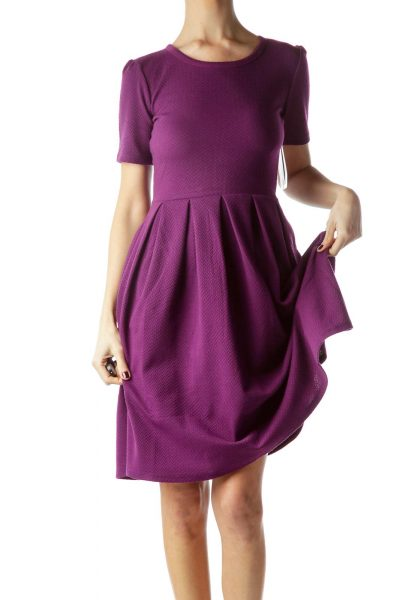 Violet Knitted Short Sleeve Day Dress