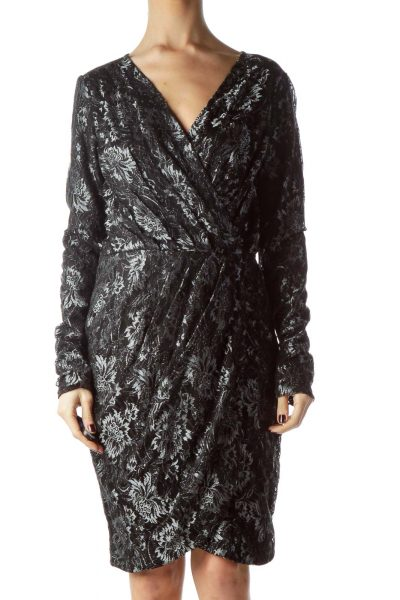 Black Silver Metallic Thread Lace Dress