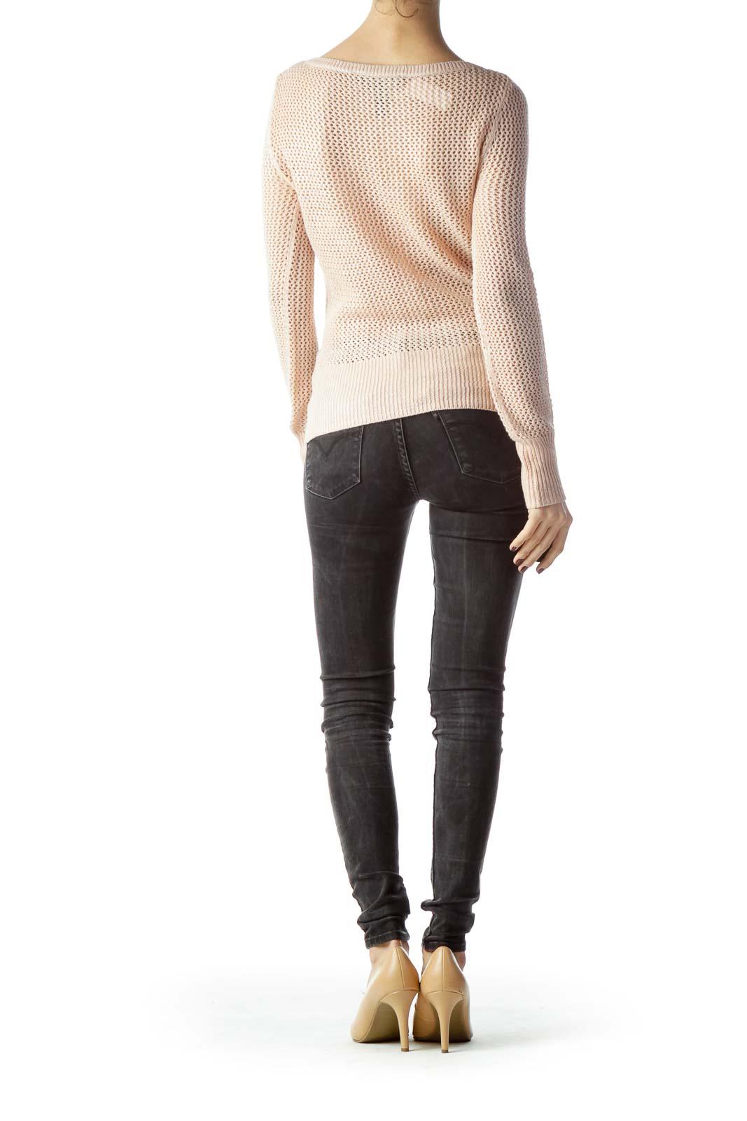 Salmon Pink Metallic Knitted Top