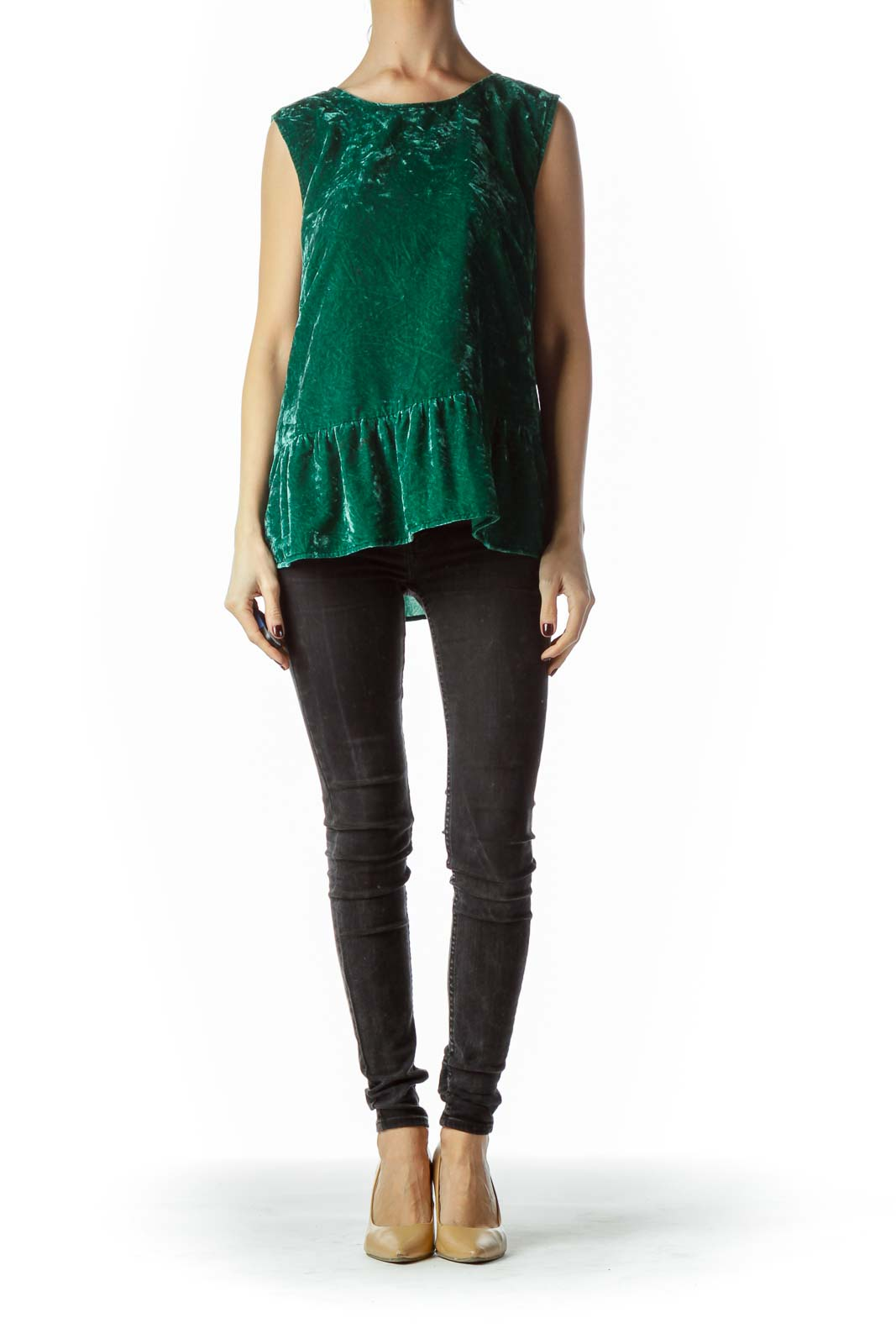 Emerald Green Velvet Sleeveless Top