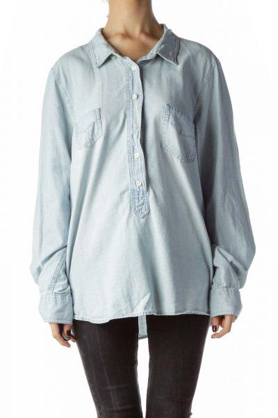 Light-Wash Blue 100% Cotton Shirt