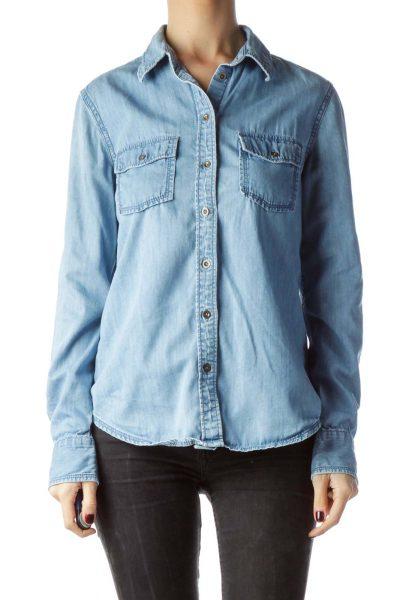 Light-Wash Blue Denim Metallic Buttons Shirt