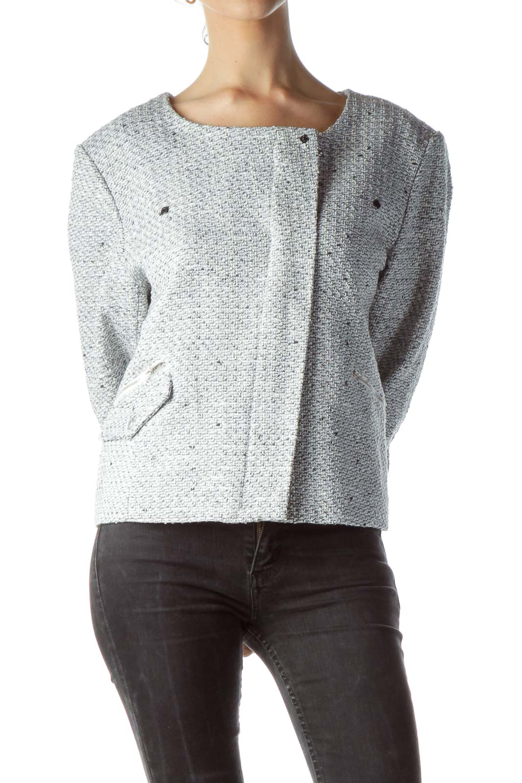 Gray Cream WhiteTextured Zippered Blazer