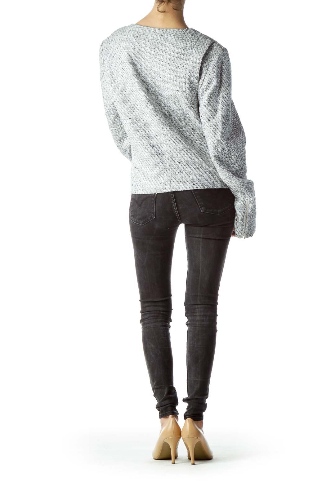Gray Cream WhiteTextured Zippered Blazer