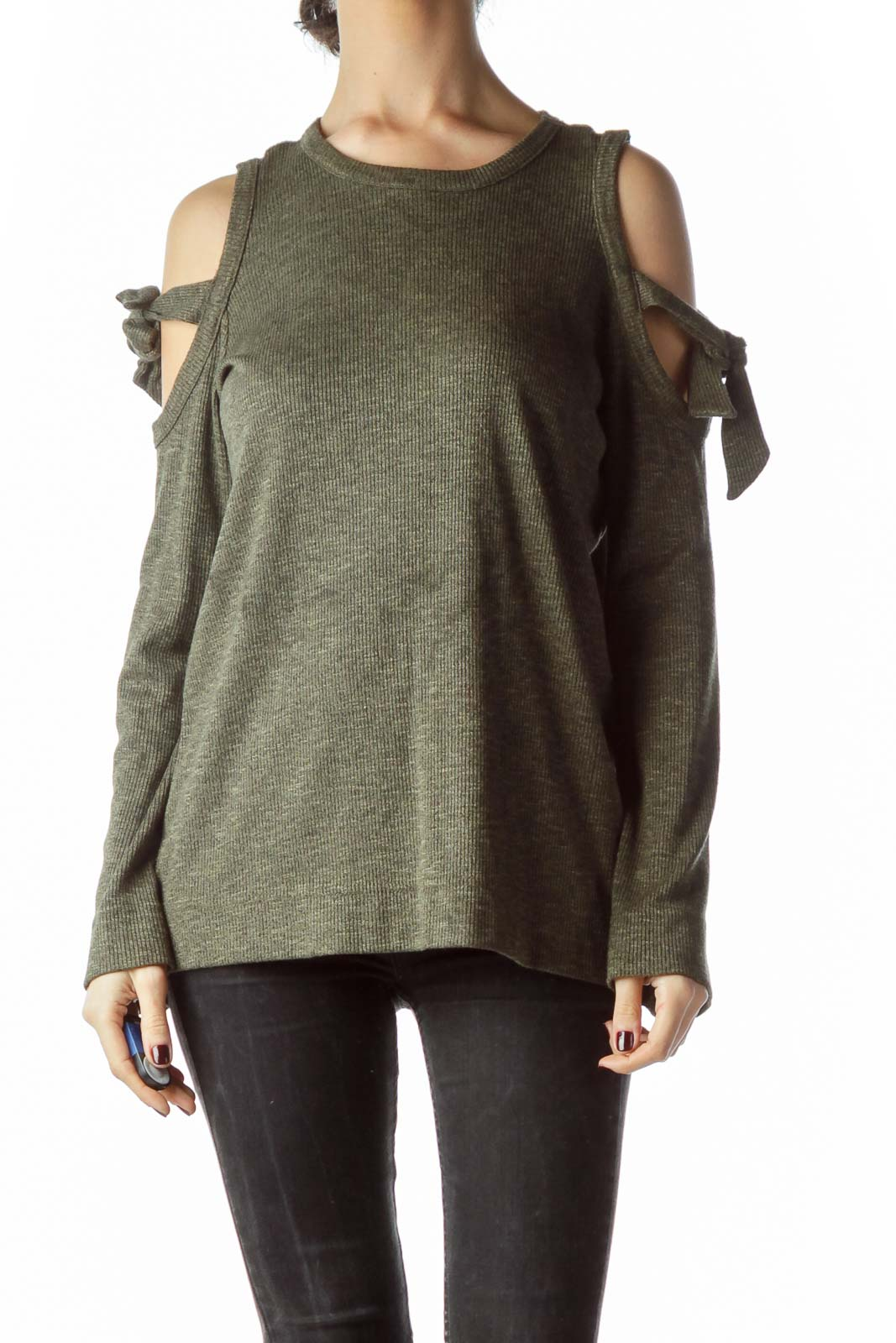 Green Cold Shoulder Shoulder Ties Knit Top