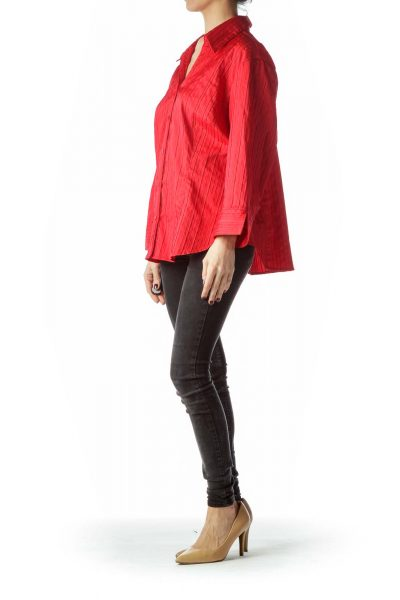 Red Collared Textured Buttoned Shirt