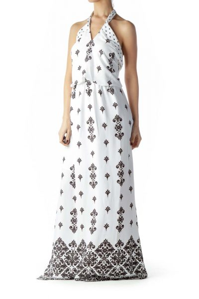 Black White Print Halter Neck Maxi Dress