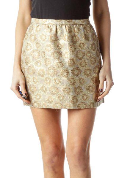Gold Beige Textured Print Pocketed Mini Skirt