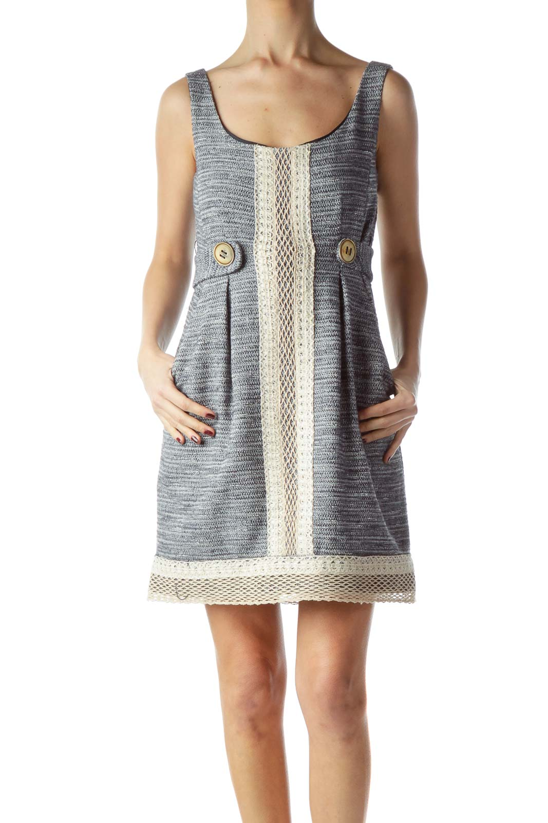 Black Beige Cream Knit Textured Dress