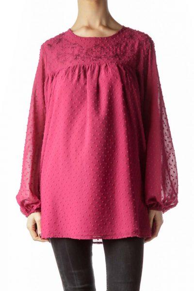 Magenta Pink Neckline Flower Embroidery Blouse