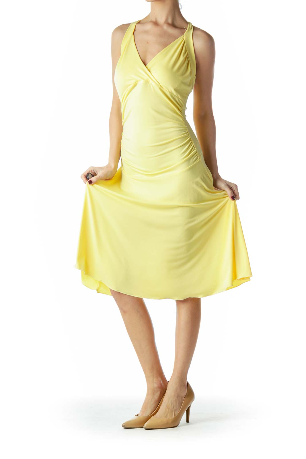 Yellow Halter Neck Scrunched Waist Dress