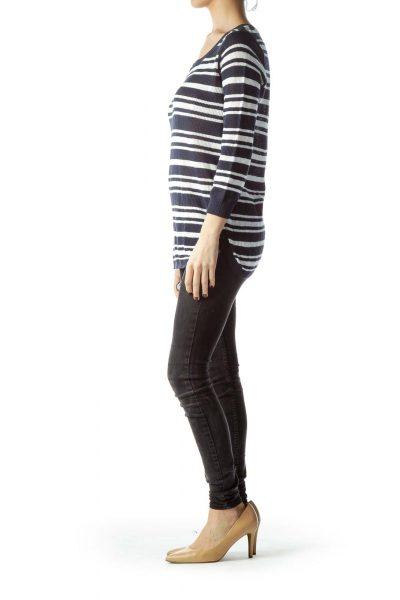 Navy Blue White Striped Stretch Sweater
