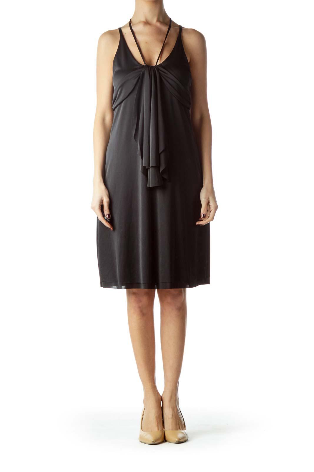Black Adjustable Straps Shift Shiny Dress