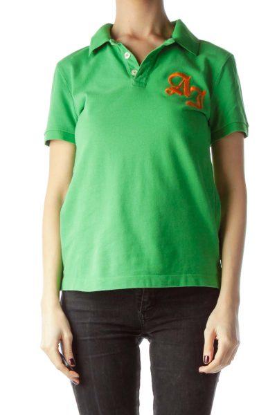 Green 100% Cotton Embroidered Logo Polo Shirt