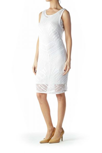 White Crocheted Dress with Slip
